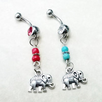 Sale.......Elephant 14 gauge stainless steel belly navel ring, body jewelry, 14g