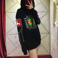 """Gucci"" Fashion Diamond Letter Print Long Sleeve Hooded Sweater Women Casual Pullover Hoodie Tops"