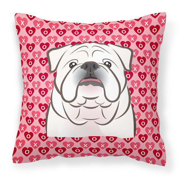 White English Bulldog  Hearts Fabric Decorative Pillow BB5290PW1414