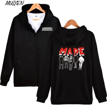 MULYEN Autumn Winter KPOP BIGBANG MADE Hoodies For Women Men Zipper Sweatshirt Concert Fans Support Hip Hop Clothes