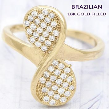 Gold Layered Women Bow Multi Stone Ring, with White Micro Pave, by Folks Jewelry