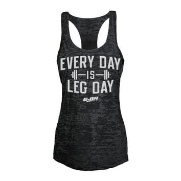Leg Day Burnout Women's Workout tank tops from G2OH (black)
