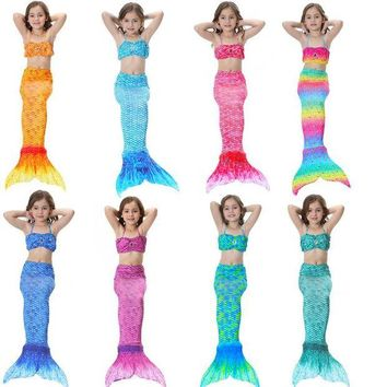 ONETOW 2017 Children Girls Mermaid Tail Costume Cosplay Color Baby Kid Mermaid Tails Bikini Swimming Mermaid Swimsuit Set M021