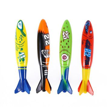 4pcs Diving Toy for Pool Use Gliding Shark Throwing Torpedo
