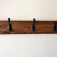Rustic wood wall coat rack with mason jar - entryway storage distressed coat hook rack, 4 hooks
