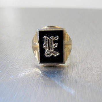 10K Mens Signet Ring, Black Onyx Yellow Gold Initial Ring, Vintage 1940s Mens Gold Initial Monogrammed Jewelry YF or UF Initials Size 11