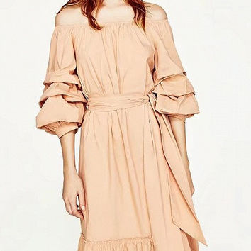 Pink Off Shoulder Ruffle Hem Ruched Sleeve Midi Dress