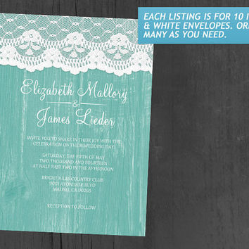 Aqua Rustic Lace & Barn Wood Wedding Invitations | Invites | Invitation Cards