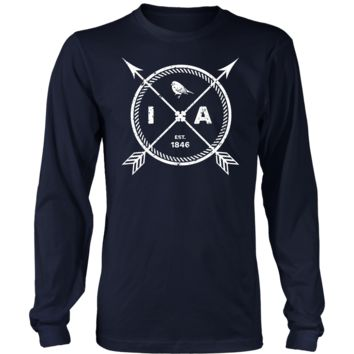 Men's Iowa Pride Long Sleeve T-Shirt - Est 1846 Arrows State Finch Gift