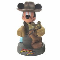 disney parks mickey mouse as indiana jones plastic coin bank new