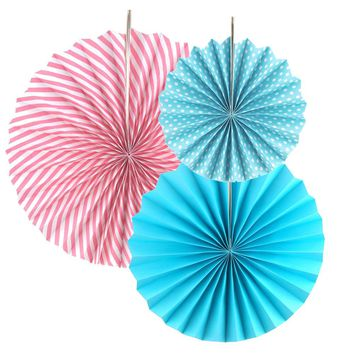 Spiral Paper Fan Hanging Decor, 8-inch, 12-inch, 15-inch 3-Piece