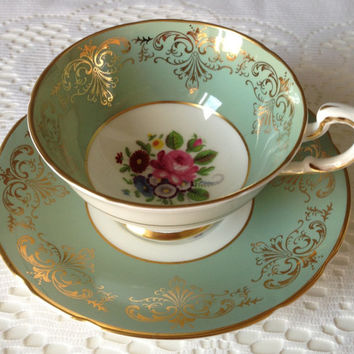 Paragon Sage Gold Gilt Tea Cup / Fine Bone English China / Vintage Tea Cup / English Tea Party