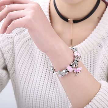 Lovely Pink Murano Glass Beads Dragonfly Charm Silver fit Bracelet