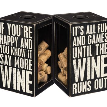 If You're Happy and You Know It, Say More Wine Double Sided Cork Holder