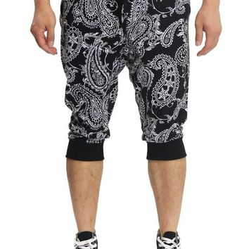 Men's Paisley French Terry Jogger Shorts JC361 - F4F