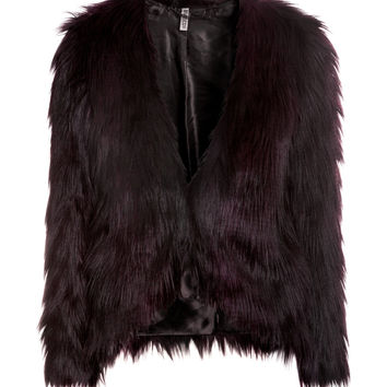 H&M - Faux Fur Jacket - Dark plum - Ladies