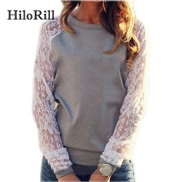 Hoodies Women Casual O-Neck Long Sleeve Female Sweatshirt Pullover Fashion Floral Lace Crochet Jumper Tops Poleron Mujer S-XXL
