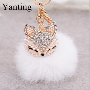 Yanting lovely crystal fox rabbit fur keychains women trinkets suspension on bags car key chain keyrings toy gifts llaveros 004