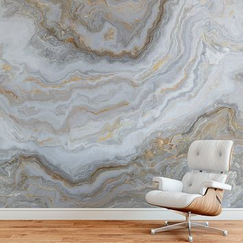 White Marble Stone Granite Slate Peel and Stick Wallpaper | Removable Wall Mural #6180