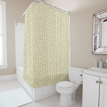 Faux gold glitter foil chevron arrow pattern zig shower curtain