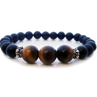 Men's Matte Black Onyx and Tiger's Eye Bracelet, Men's Black Onyx and Tiger's Eye 925 Sterling Silver Stretch Bracelet