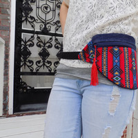 Red and Denim Aztec Fanny Pack with Red Tassle- Free Shipping to Continental US