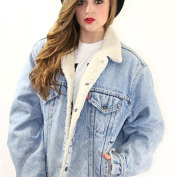 Vintage sheepskin acid wash Levi's denim jacket :: GiGi Vintage