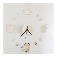 Coffee Cup Silent Casual Wall Clock Decoration Sticking   silver