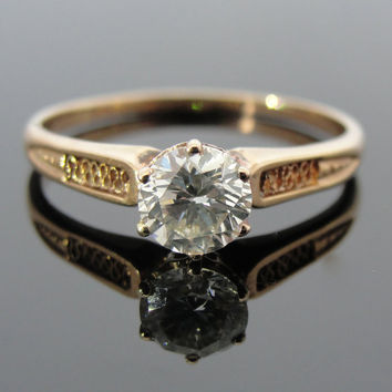 Rose Gold Filigree Engagement Ring with Fine .67 carat Diamond, Antique Art Nouveau - Victorian RGDIS722D