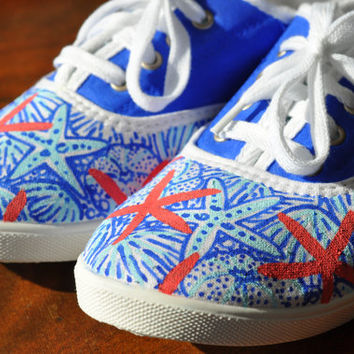 Lilly Pulitzer Inspired Hand Painted Canvas Shoes: She She Shells Ocean Beach Pattern