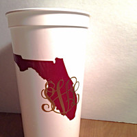 4 Inch Any State Monogram Two Colors in Vine or Circle