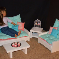 "FEBRUARY SPECIAL - Living Room Set for American Girl Doll - Sofa, Chair, End Table & Coffee Table 18"" Dolls"
