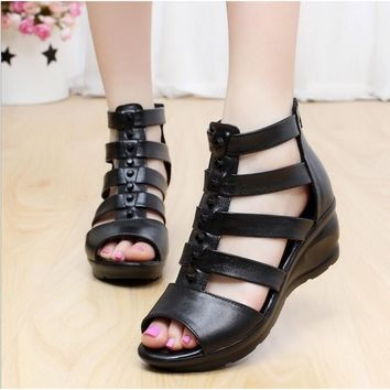 Women's Roman Gladiator Sandals Leather Shoes Ankle Strap Booties Retro British