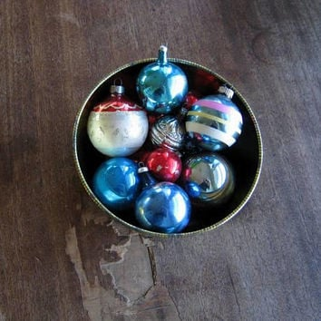 12 Assorted Mercury Glass Ornaments: Stenciled, Unsilvered w/ Mica Glitter; Turquoise Stripe; Blue w/ Leaf; Silver Walnut; 8 Solid Red/Blue