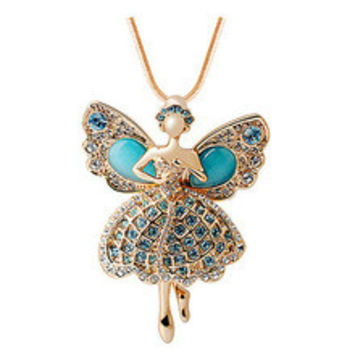 Fashion Long Necklace Classic Opal Crystal Gem 18K Gold plated Angel Dream Ballet Girl Dancers Figure Pendant Necklaces Woman