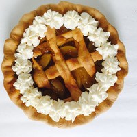 Fake Lattice Crust Peach Pie in Peach Pie Scent - Faux Pie - Farmhouse Kitchen Fake Food - Food Staging Prop