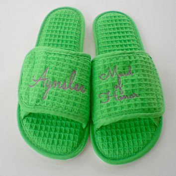 Wedding Spa Slippers Bride, Maid of Honor, Bridesmaids, Mother of Bride, Mothr of Groom Monogram Gifts Under 20 Dollars