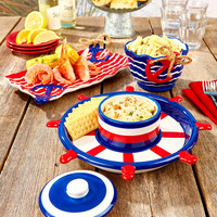 Nautical Theme Tray Chip & Dip Set Red White Blue Ship Wheel Anchor Rope Decor