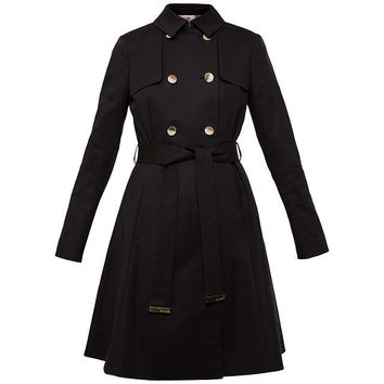 Ted Baker Fit and Flare Wrap Mac, Black at John Lewis