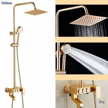Dofaso golden and rose antique brass shower gold bathroom shower faucet rose shower set Bath copper Shower Faucets