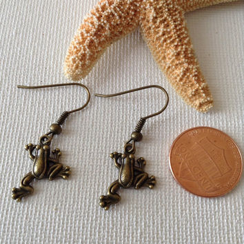 Bronze frog earrings, bronze ear wires, small earrings, tiny frogs, nature lovers