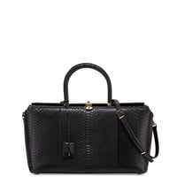 India Large Python Satchel Bag, Black