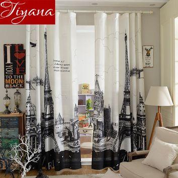 Blackout Eiffel Tower 3D Curtains Black And White Printed Finished Product Modern Simple Cafe Bedroom Curtains Cloth T&079 #20
