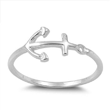 Anchor Jewelry: 925 Sterling Silver Anchor Ring