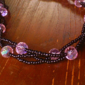 Black & Pink 4 Strand Woven Necklace