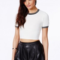 Missguided - Chellina White Contrast Hem Crop Top