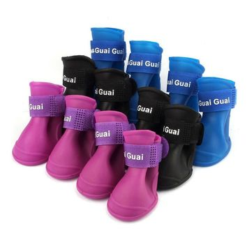 4Pcs/ Lot dog shoes waterproof Candy Colors dog boots Silicone Rubber shoe for dog Rai