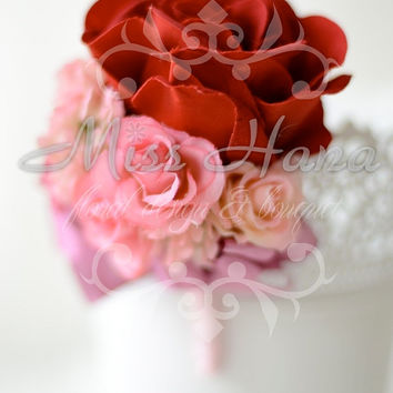 Red Rose boutonnieres Wrapped In Satin Ribbon Silk Arrangement Rustic Chic Romantic Elegant