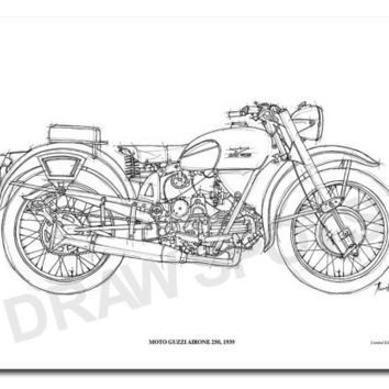 MOTO GUZZI AIRONE 250 1939 -Original Handmade Drawing Print, 11.5x16 in. (29x41 cm), Limited Edition print, cool gift