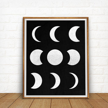 Moon Phases Poster Print, Geometric Art, Geometric Artwork, Modern Home Decor,  Black and White Moon Wall Art, Moon Phase Print, Astronomy